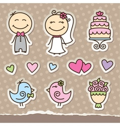 wedding stickers vector image vector image