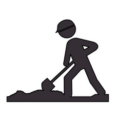 worker with shovel silhouette vector image