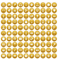 100 entertainment icons set gold vector