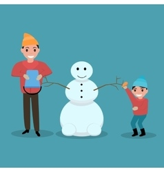 Cartoon father son together build snowman vector