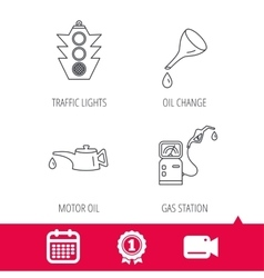 Motor oil traffic lights and gas station vector