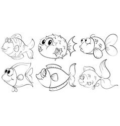 Different doodle design of fishes vector image