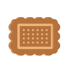 Brown cookie icon flat style vector