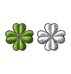 Good luck four leaf clover vintage vector