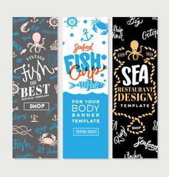 Vintage sea food vertical banners vector