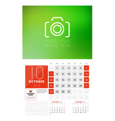 Wall calendar template for 2018 year october vector
