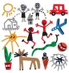 Drawings in kids style vector