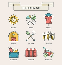 Eco farming icons vector