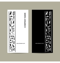 Egypt hieroglyphs business cards design vector