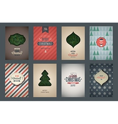 Vintage poster set merry christmas vector