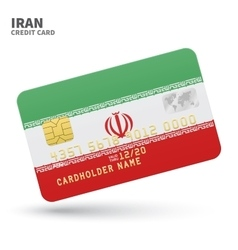Credit card with iran flag background for bank vector