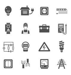 Electricity black white icons set vector