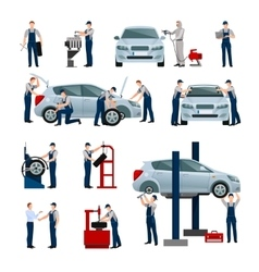 Car Service People Icons Set vector image