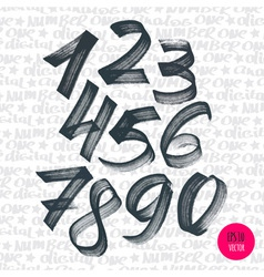 Alphabet numbers digital style hand-drawn doodle vector
