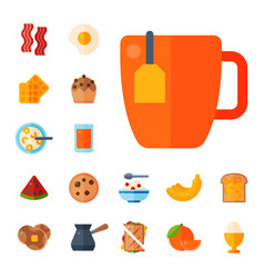 Breakfast healthy food meal icons drinks flat vector