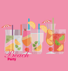 Cocktail drink fruit juice in flat design style vector