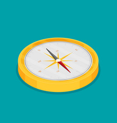 Compass icon on a color background isometric view vector