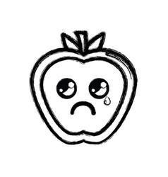 Contour kawaii nice crying strawberry fruit vector