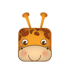 Cute giraffe animal head expression vector