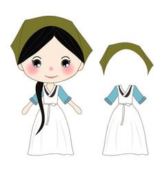 Cute girl in green hanbok korean traditional vector