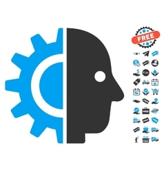 Cyborg head icon with free bonus vector
