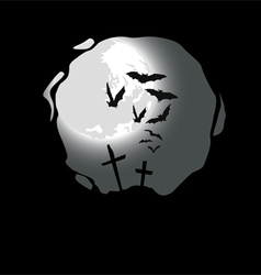 Destroyed cemetery full moon vector