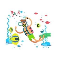 Diver character flat design vector image vector image