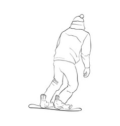 Drawing snowboarder vector