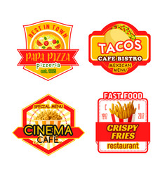 Fast food menu icons fastfood bistro cafe vector