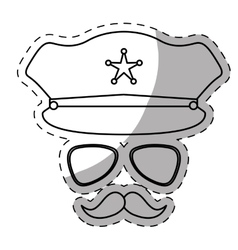 Figure hat glasses and mustache police vector
