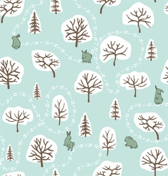 Forest seamless pattern with hares vector