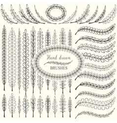 Hand drawn floral design elements set vector image