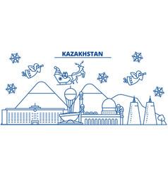 Kazakhstan winter city skyline merry christmas vector