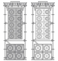 line array concert acoustics scaffold suspension vector image vector image