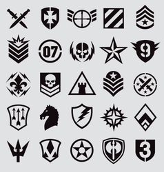 Military icons symbol set on gray vector image