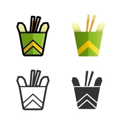 Noodles in a box colored icon set vector