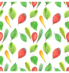 Seamless pattern of red and green leaves vector