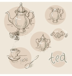 set of vintage hand drawn tea sketch vector image