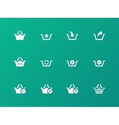 Shopping basket icons on green background vector