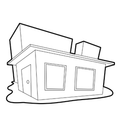 Small house icon outline style vector
