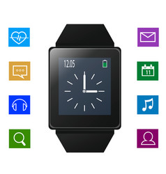 Smart watch with icons near gadget vector