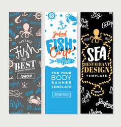 Vintage sea food vertical banners vector