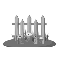 Wooden fence icon gray monochrome style vector