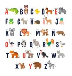 Zoo alphabet with cute cartoon animals vector image