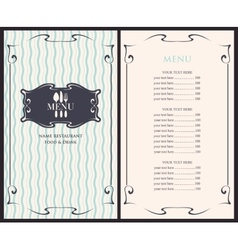 Template menu with price vector