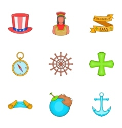 Geography icons set cartoon style vector