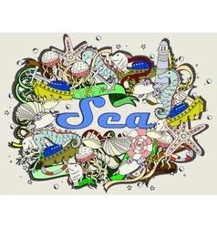Sea line art design vector