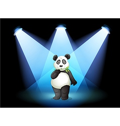 A panda at the center of the stage with spotlights vector