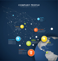 Company profile overview template with colorful vector