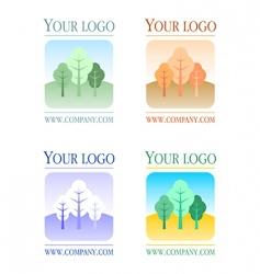 floral logos set vector image